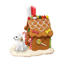 Cockapoo White Ginger Bread House Ornament