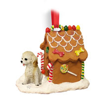 Cockapoo Blond Ginger Bread House Ornament
