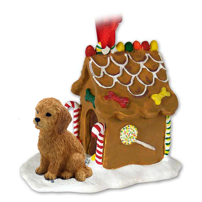 goldendoodle ginger bread house ornament