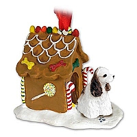 Cocker Spaniel Brown & White Ginger Bread House Ornament