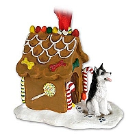 Husky Black & White w/Brown Eyes Ginger Bread House Ornament
