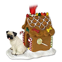 Pug Fawn Ginger Bread House Ornament