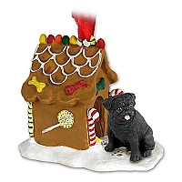 Pug Black Ginger Bread House Ornament