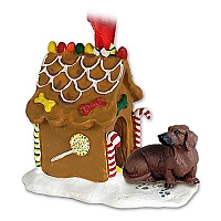 Dachshund Red Ginger Bread House Ornament