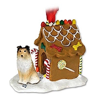 Sheltie Sable Ginger Bread House Ornament