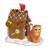 Chow Red Ginger Bread House Ornament