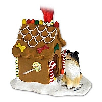 Collie Tricolor Ginger Bread House Ornament