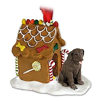 Labrador Retriever Chocolate Ginger Bread House Ornament