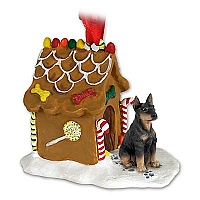 Doberman Pinscher Black w/Cropped Ears Ginger Bread House Ornament