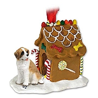 Saint Bernard w/Rough Coat Ginger Bread House Ornament