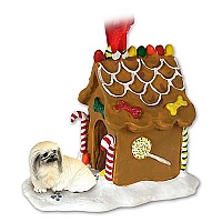 Pekingese Ginger Bread House Ornament