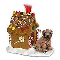Shar Pei Brown Ginger Bread House Ornament