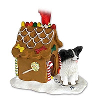 Papillon Black & White Ginger Bread House Ornament