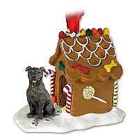 Staffordshire Bull Terrier Brindle Ginger Bread House Ornament