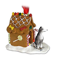 Greyhound Blue Ginger Bread House Ornament