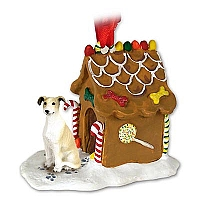 Greyhound Tan & White Ginger Bread House Ornament