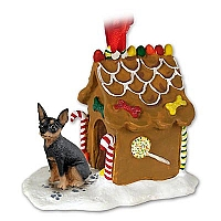 Miniature Pinscher Tan & Black Ginger Bread House Ornament
