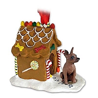Miniature Pinscher Red & Brown Ginger Bread House Ornament