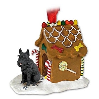 Schnauzer Giant Black Ginger Bread House Ornament