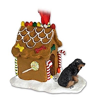 Dachshund Longhaired Black Ginger Bread House Ornament