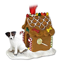 Jack Russell Terrier Brown & White w/Rough Coat Ginger Bread House Ornament