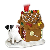 Jack Russell Terrier Black & White w/Rough Coat Ginger Bread House Ornament