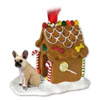French Bulldog Fawn Ginger Bread House Ornament