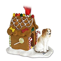 Borzoi Ginger Bread House Ornament