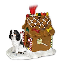 Cavalier King Charles Spaniel Black & White Ginger Bread House Ornament