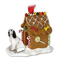 English Setter Belton Blue Ginger Bread House Ornament