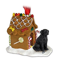 Flat Coated Retriever Ginger Bread House Ornament