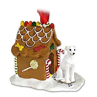 Whippet White Ginger Bread House Ornament