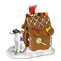 Whippet Gray & White Ginger Bread House Ornament