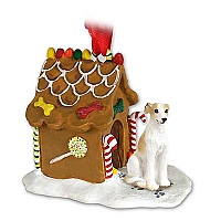 Whippet Tan & White Ginger Bread House Ornament