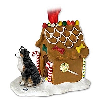 Australian Shepherd Tricolor w/Docked Tail Ginger Bread House Ornament