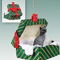 Blue Cornish Rex Gift Box Green Ornament