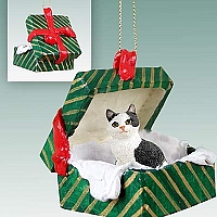 Black & White Manx Gift Box Green Ornament