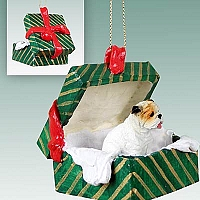 Bulldog White Gift Box Green Ornament