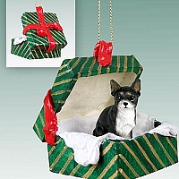 Chihuahua Black & White Gift Box Green Ornament