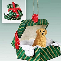 Golden Retriever Gift Box Green Ornament