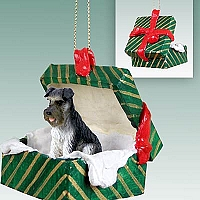 Schnauzer Gray w/Uncropped Ears Gift Box Green Ornament