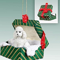 Poodle White w/Sport Cut Gift Box Green Ornament