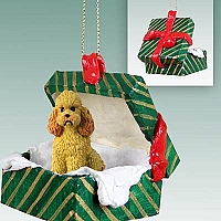 Poodle Apricot w/Sport Cut Gift Box Green Ornament
