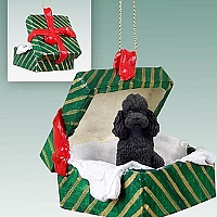 Poodle Black w/Sport Cut Gift Box Green Ornament