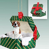 Pointer Brown & White Gift Box Green Ornament