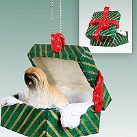 Lhasa Apso Brown Gift Box Green Ornament