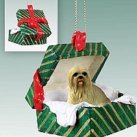 Lhasa Apso Blonde Gift Box Green Ornament