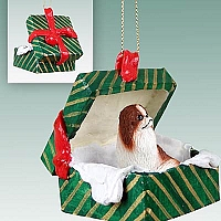 Japanese Chin Red & White Gift Box Green Ornament