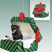 Rottweiler Gift Box Green Ornament