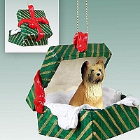 Briard Gift Box Green Ornament